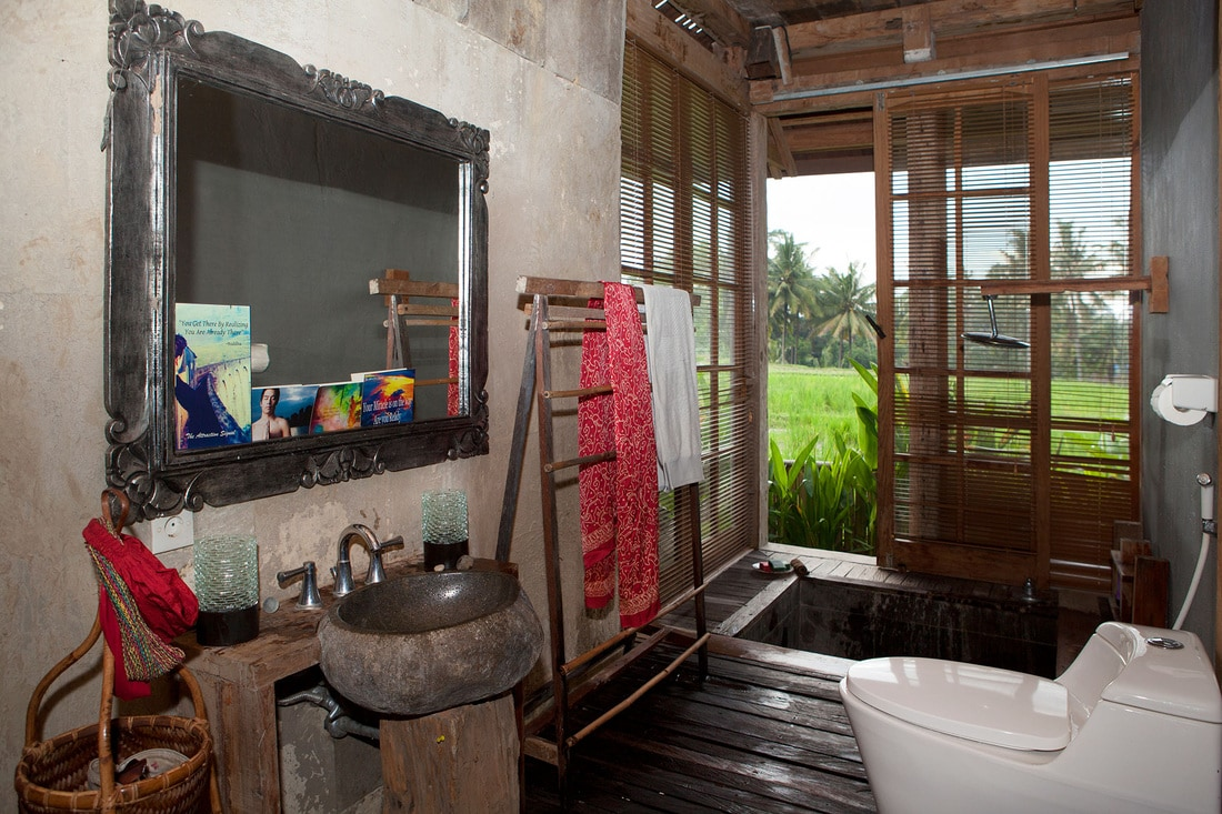 Ensuite bathroom with Japanese stone bath, power shower and toilet.