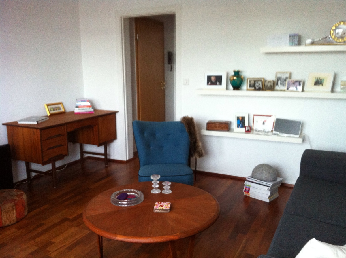 The living room, the apartment is 55 square meters and on the second floor