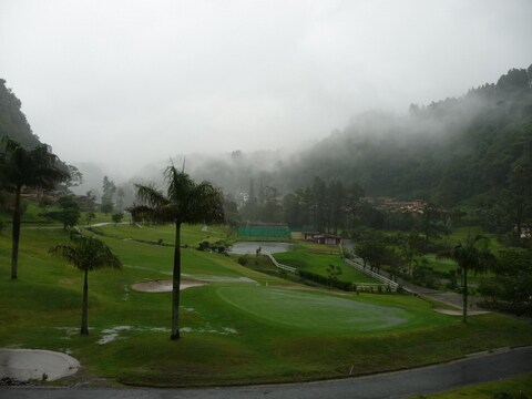 view of golf course with the mountain backdrop.  This would be the view on a misty day.