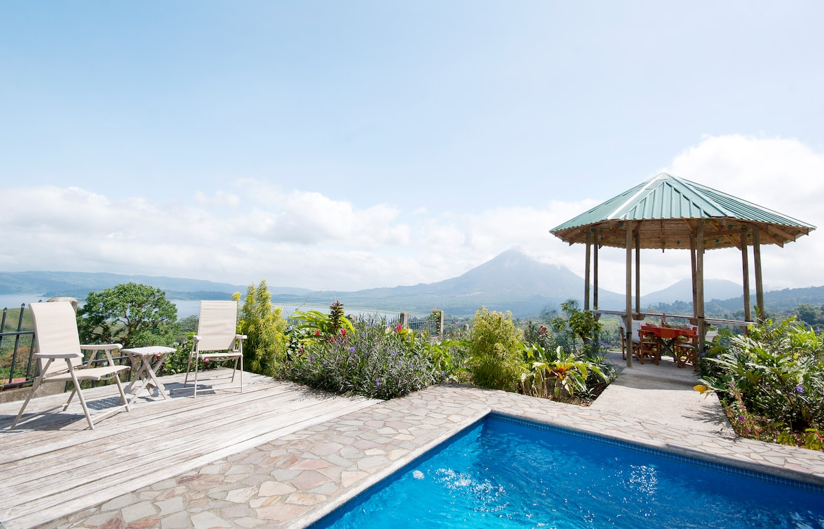 Take a dip in the pool, sun on the deck or have a bite to eat in the gazebo all while enjoying the beautiful views of Arenal Volcano and Lake.