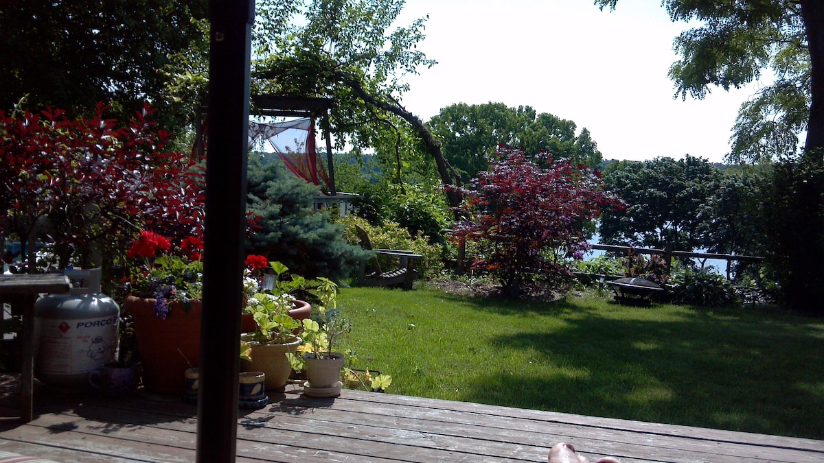 View from the back deck, overlooking the Hudson River