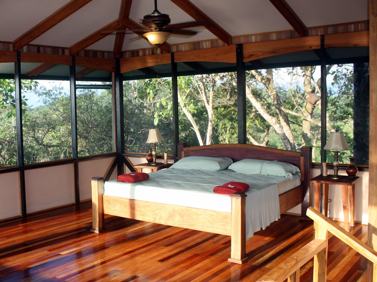 The upstairs master suite has 550 sq. feet, an in suite bathroom and views in all directions.