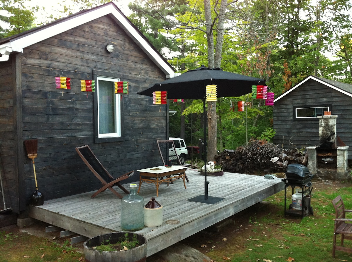This is your private deck, the other cabin is my artist studio.