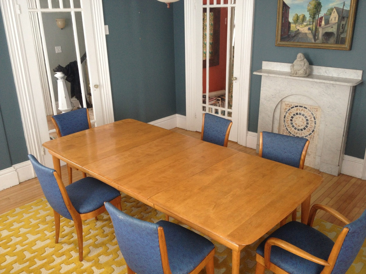 Formal dining room. With leaf, seats 8 comfortably, 10 less so.