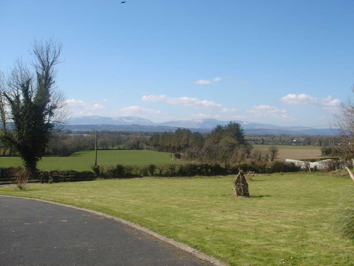 This is the view from front of the house, comeragh mountains in co. waterford in the distance