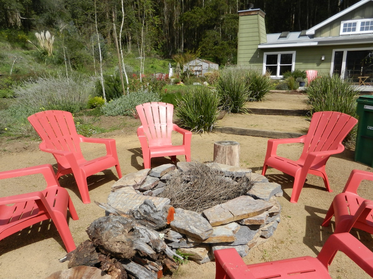 Firepit overlooking the pond