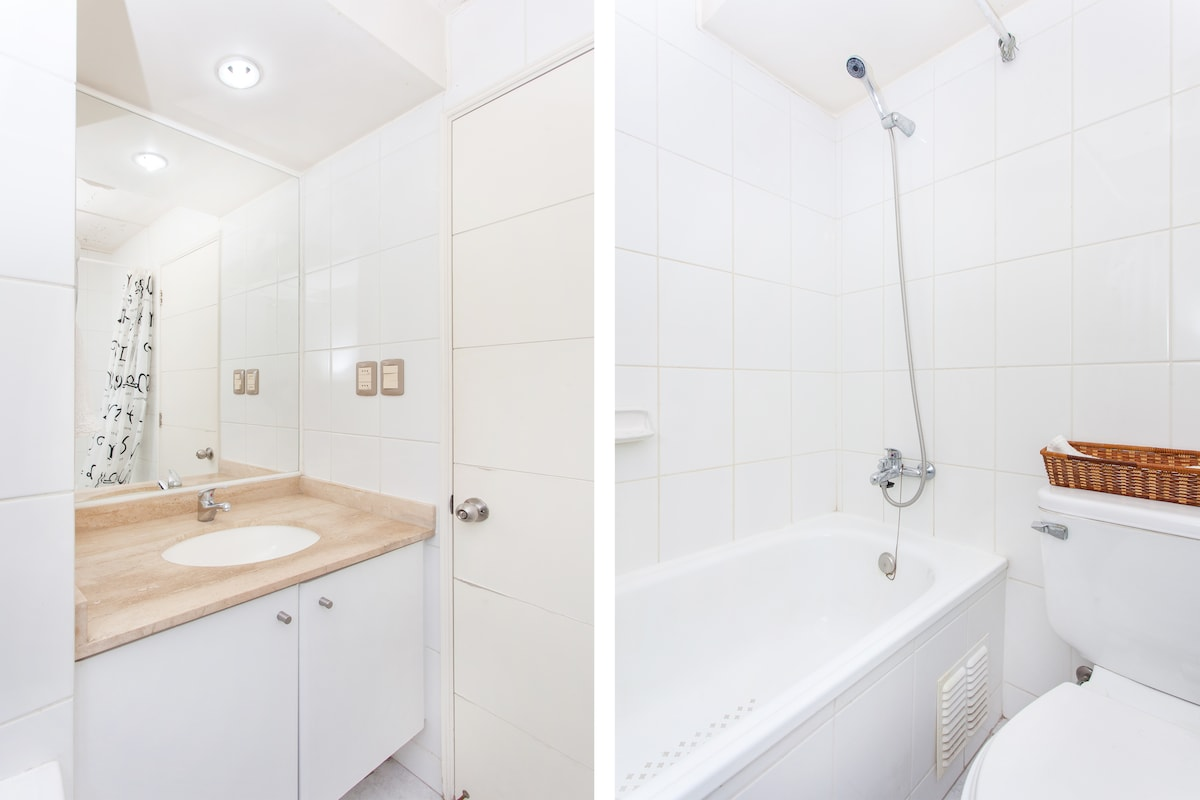 Bathroom, with sink, lavatory, bath and shower. We can provide towels!