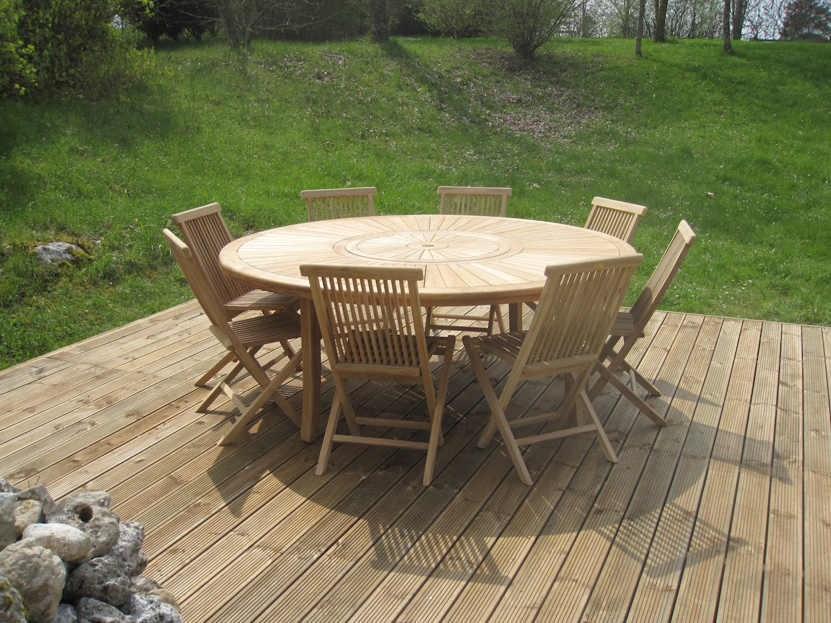 The large outdoor table - ideal for sunny evenings