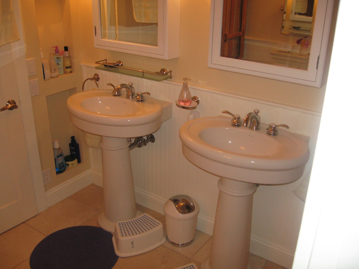 The downstairs bathroom - also has a soaking tub.