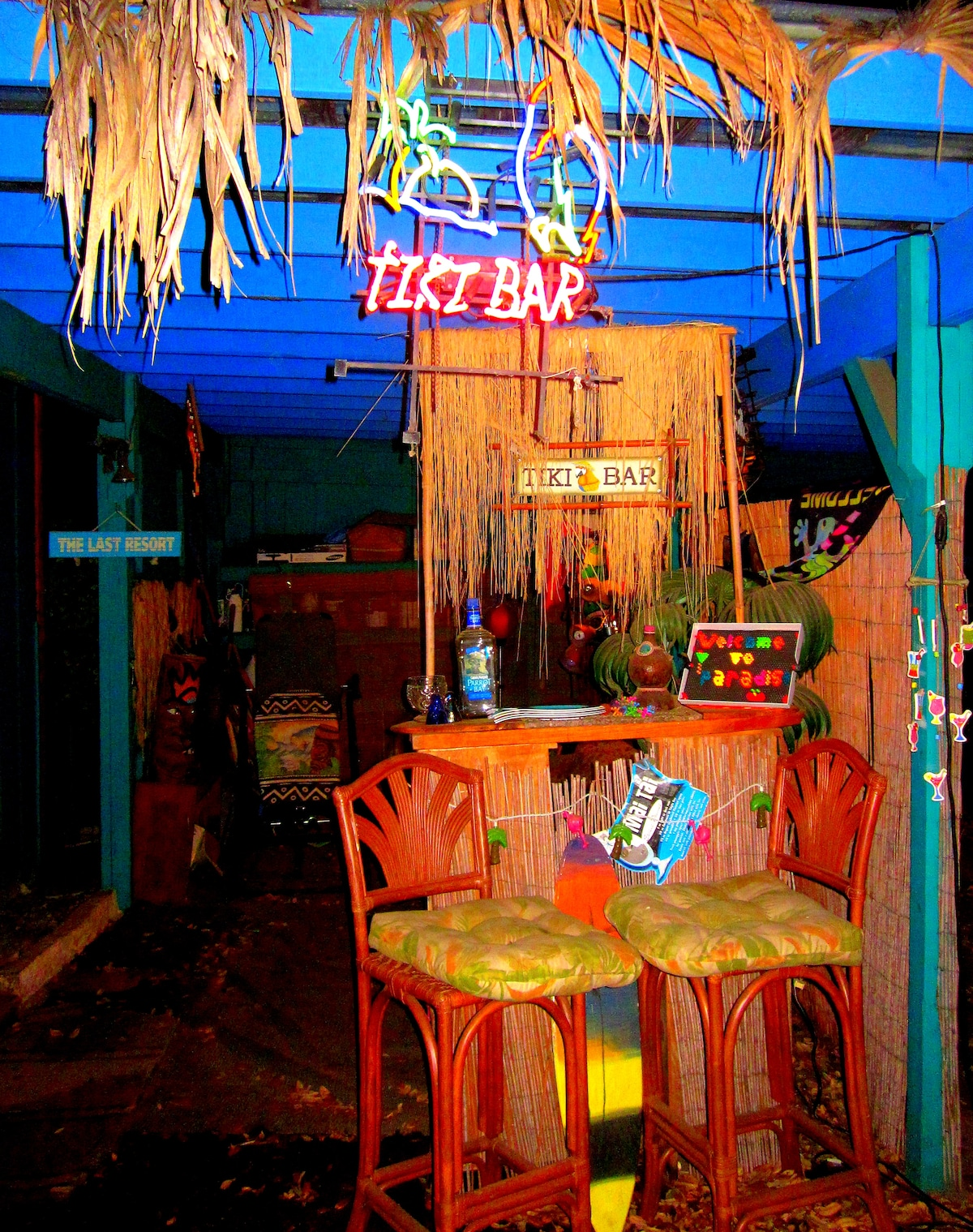 The place for fun.. Your very own Tiki Bar! Just outside of your bedroom and bath..