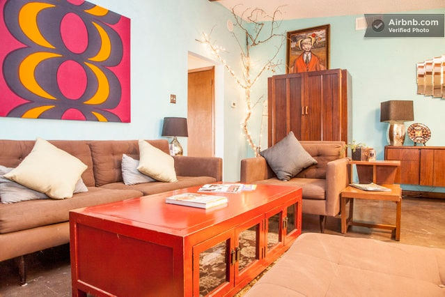 Our open living room, a great place to relax after a big day in our little city.