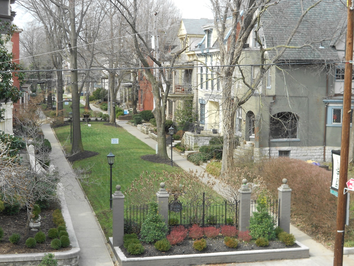 VIEW OF BELGRAVIA COURT FROM PORCH OF APT. 3-A