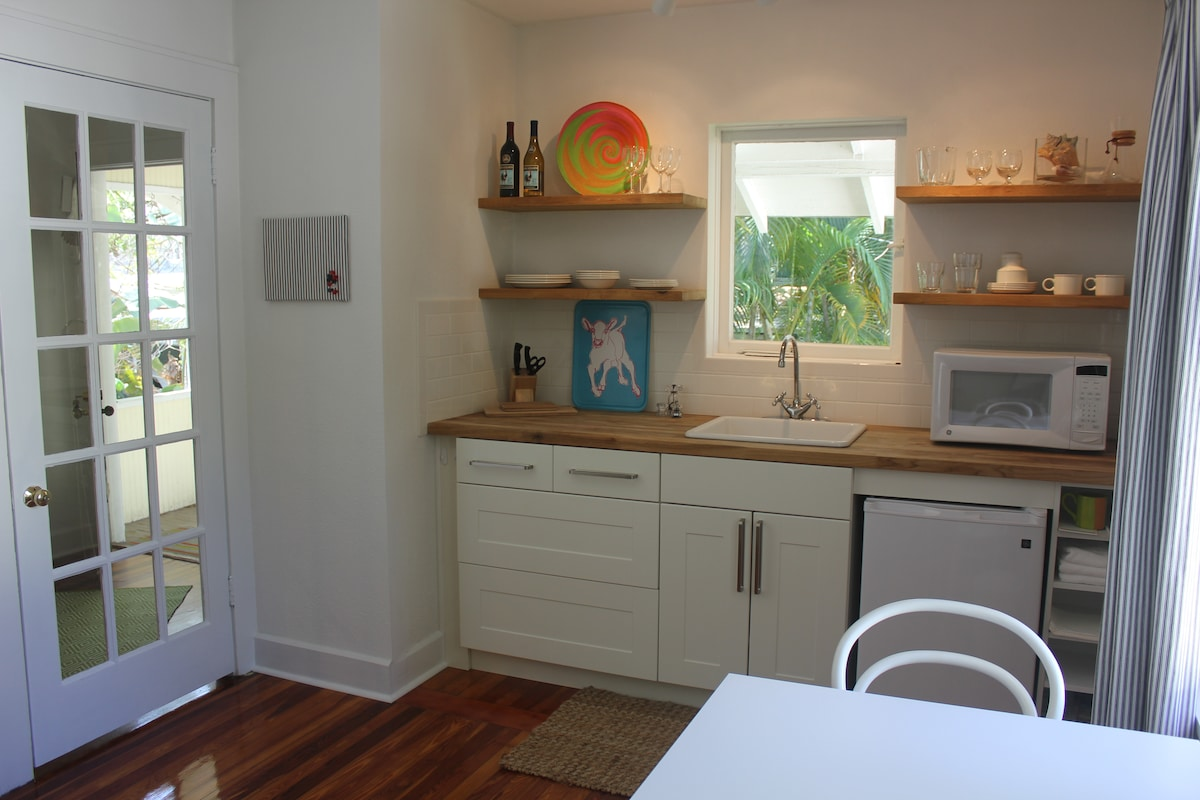 Modern kitchenette with microwave, induction cooktop and refrigerator.