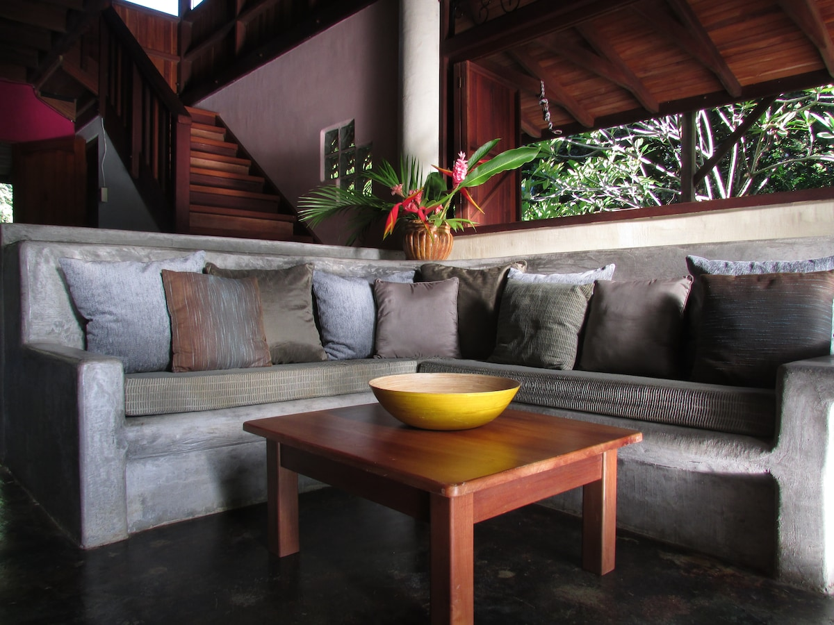lounge area downstairs with a beautiful view of the garden...
