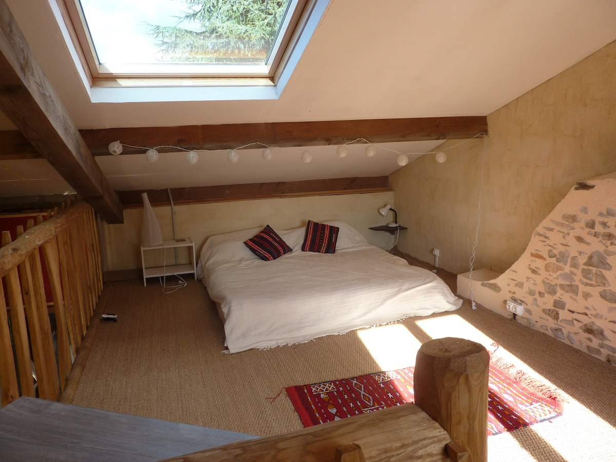 Your king- sized Bohemian style bed upstairs in the Piggery also makes two twin beds.