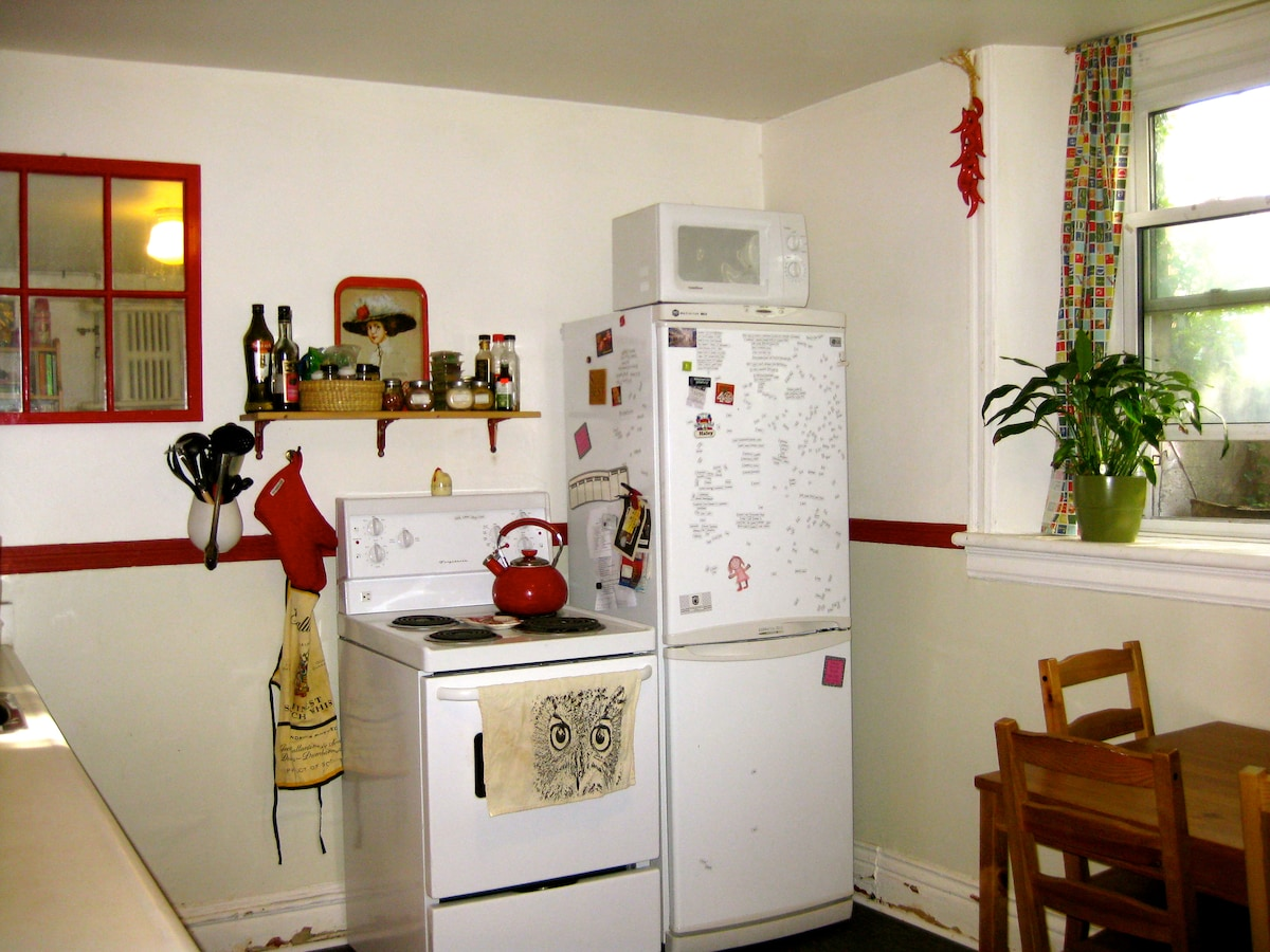 kitchen. afternoon light. new stove and fridge.