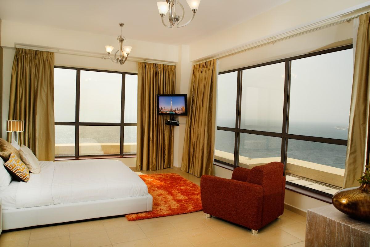 Stunning corner sea views from opulent master bedroom