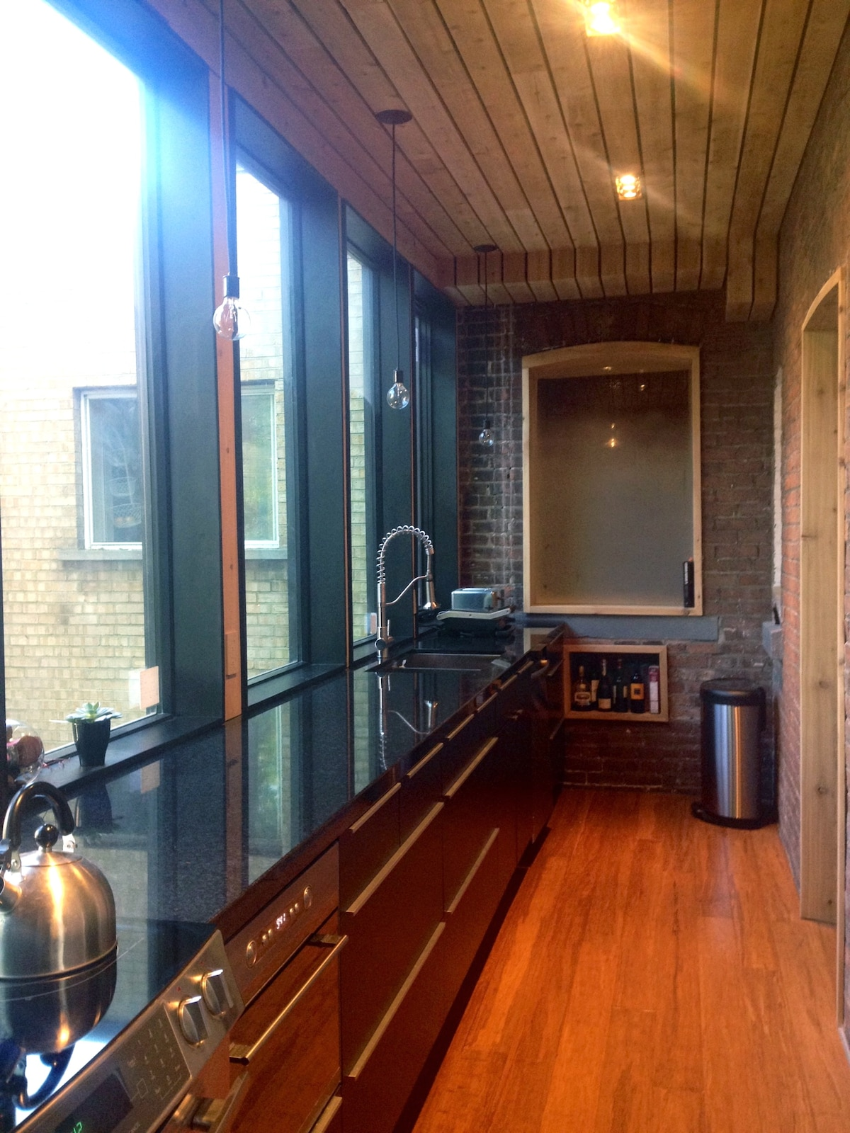 Galley kitchen, with new appliances and dishwasher