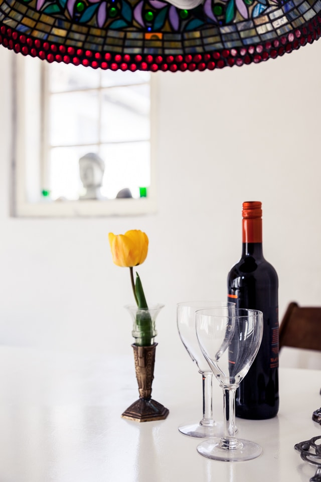 why not have a glass and relax, the table with wine