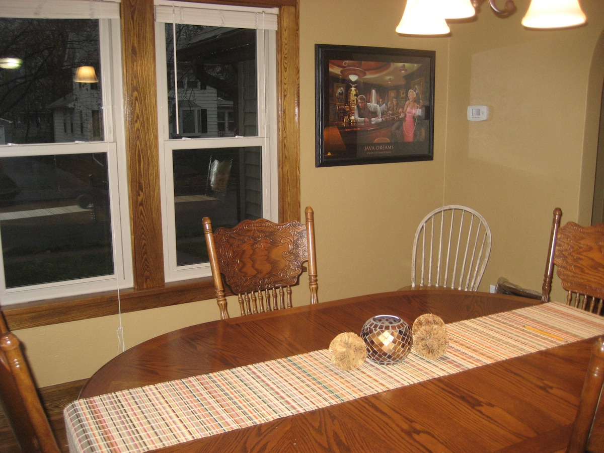 Dining room. Extra chairs found downstairs.