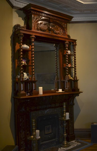 Music room Mahogany fireplace. Grand Piano free to use.