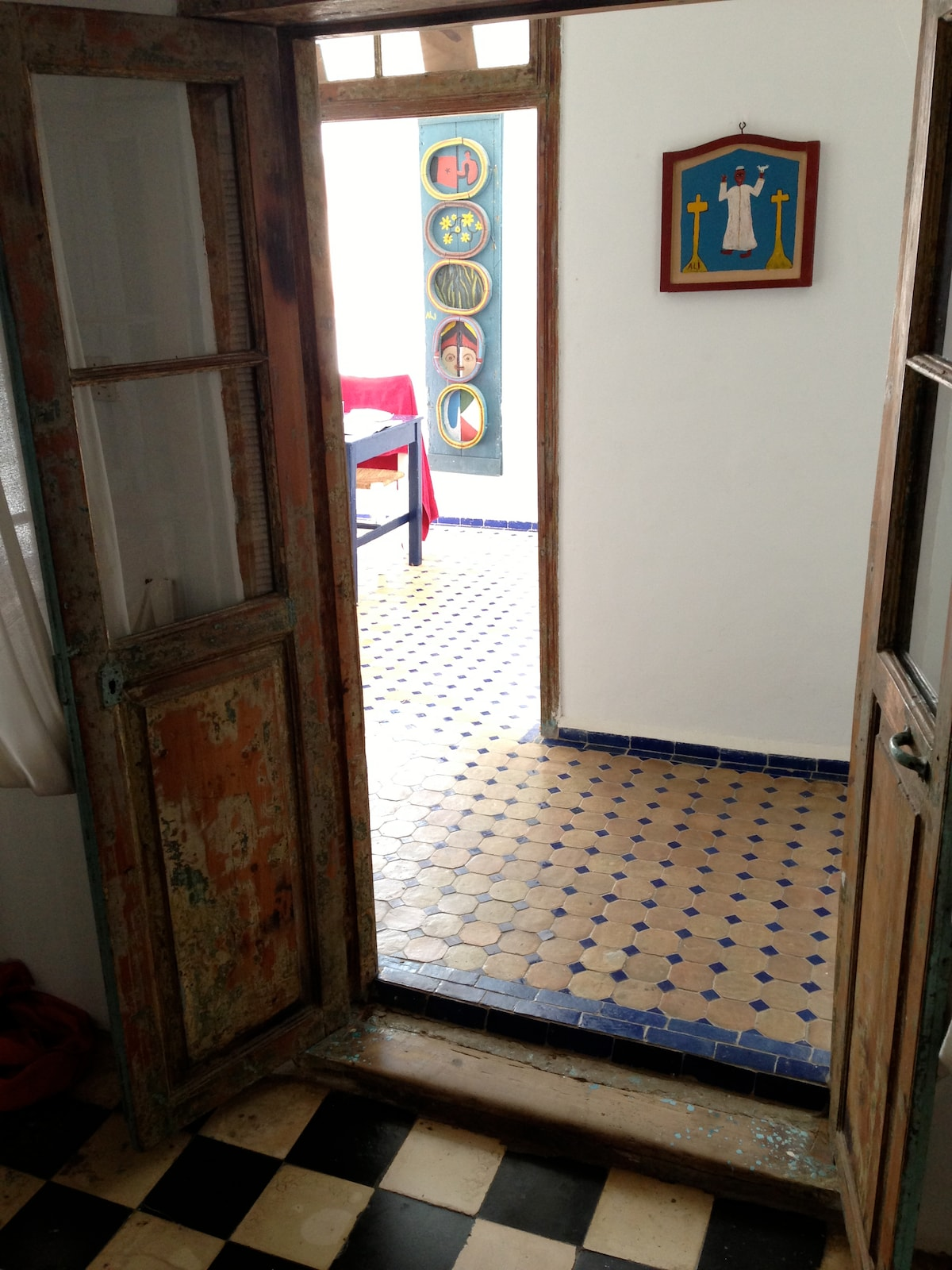 Careful renovation retaining ancient wooden door frames and windows