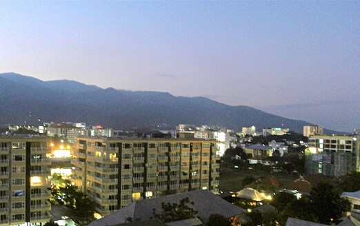 Gorgeous view of Doi Suthep mountain in the evening when looking from the window to the left