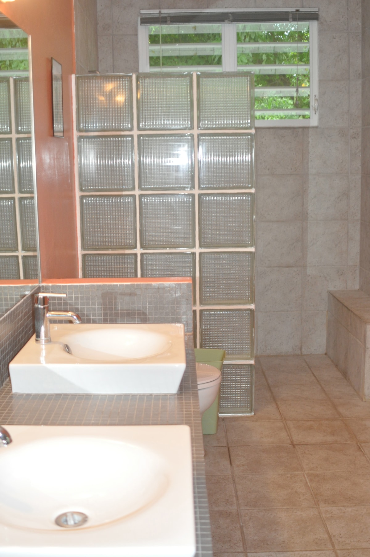 Master bathroom with two sinks and a walk-in shower
