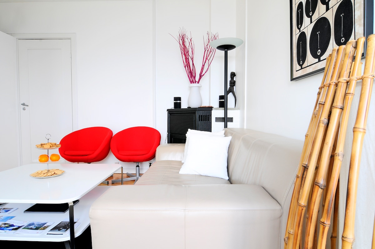 The sitting room is equipped with a sleeper sofa