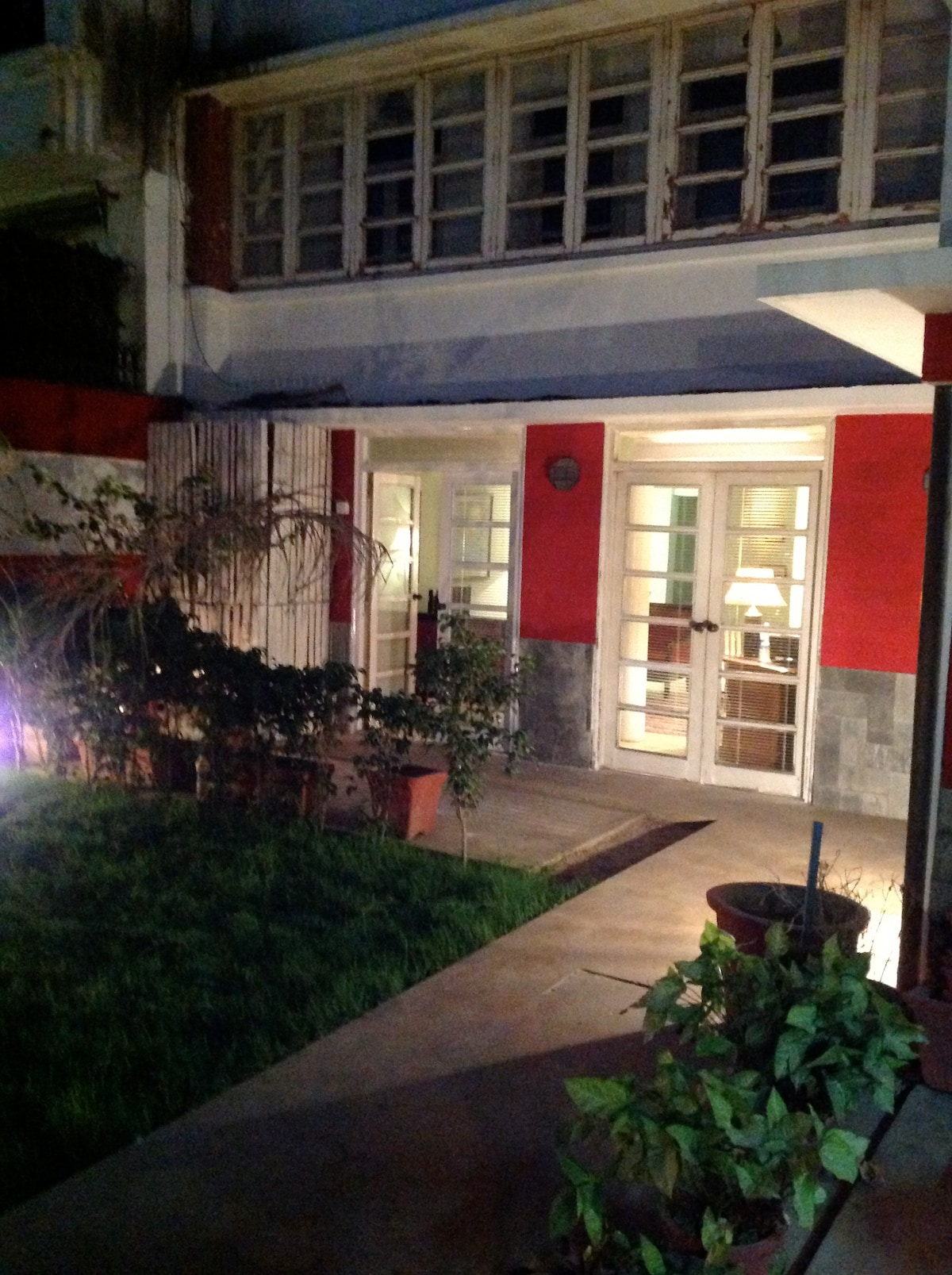 The garden and the French windows at night