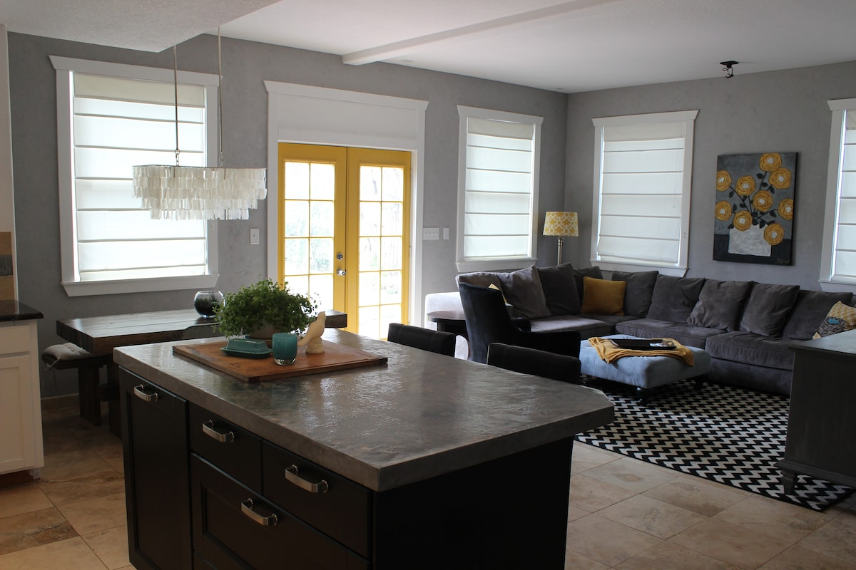 Open living room and kitchen- a perfect gathering space