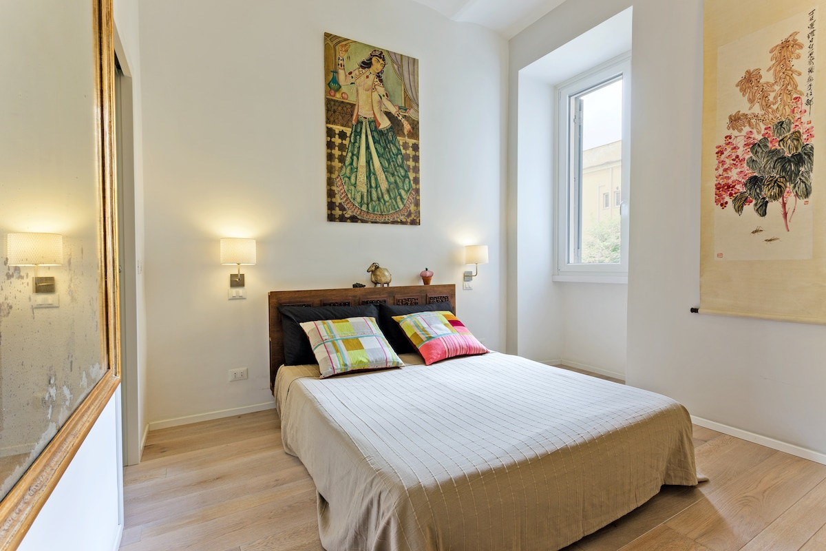 The master bedroom overlooking the private garden