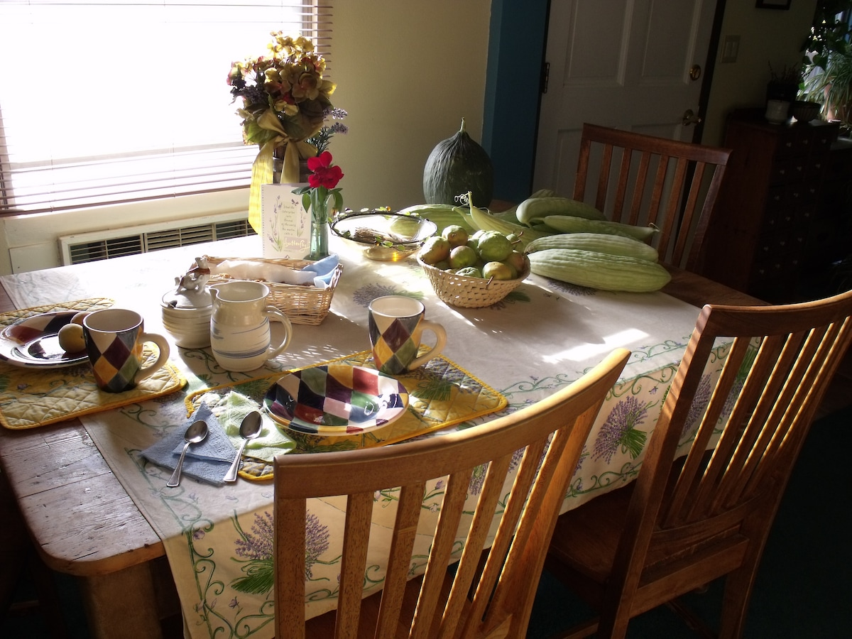 Breakfast is homemade, with fresh produce and jams from our orchard/garden
