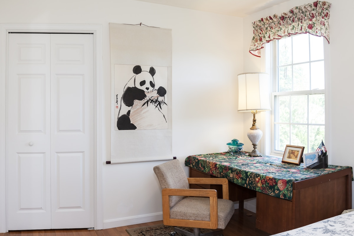 Inside Bedroom #1--the dcloset space (and a cute panda!)