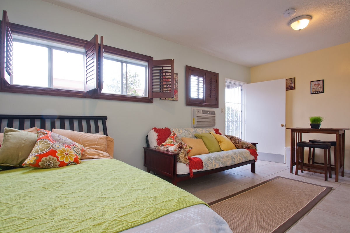 We Sleep 4 Guests Perfectly! We have a Queen Size Bed & Full Size Fold Out Bed. The MOST comfy we could find.