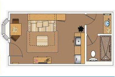 The Studio layout.  My favorite thing about this room that i don't have is the double shower heads.