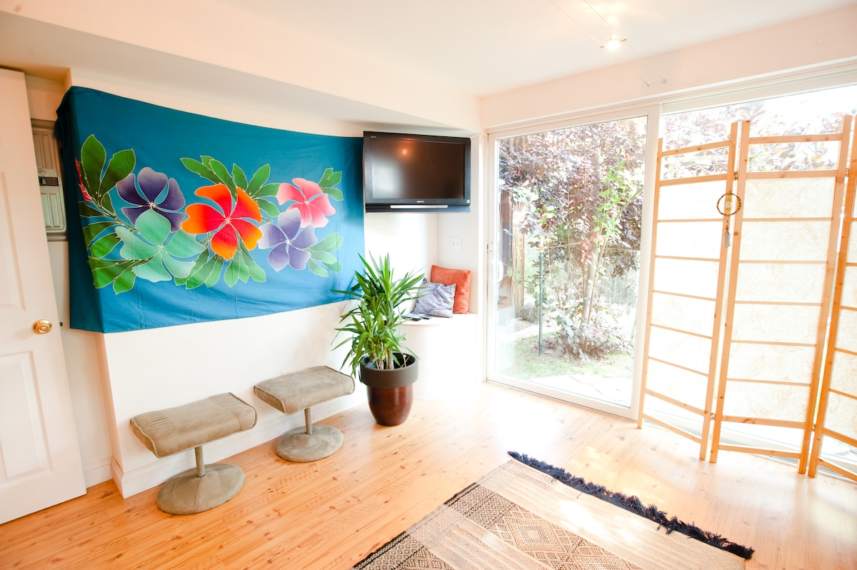 You have independent access to your suite through the sliding glass door facing the garden.