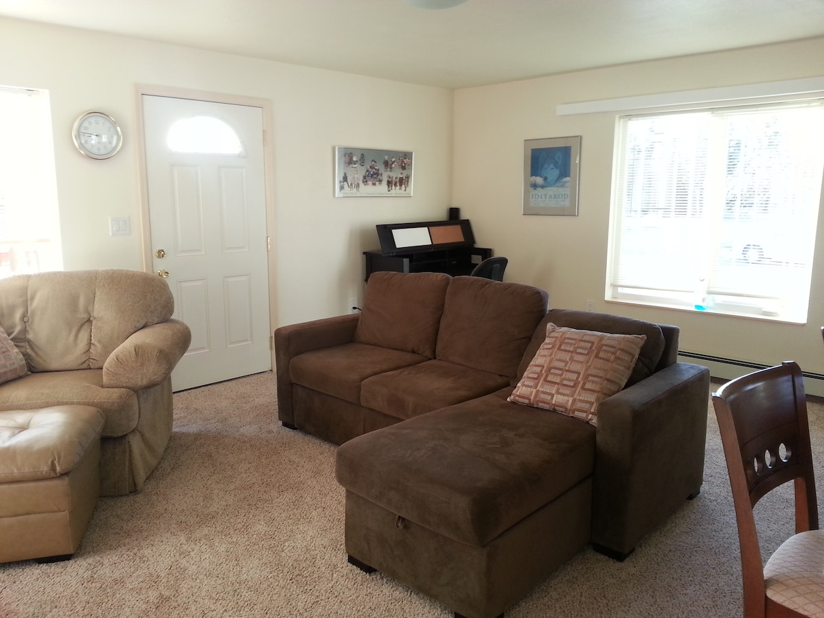 General view of living room.  Couch pulls up to make a full size bed