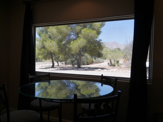 view from picture window in dining room -- north facing toward catalina mountains