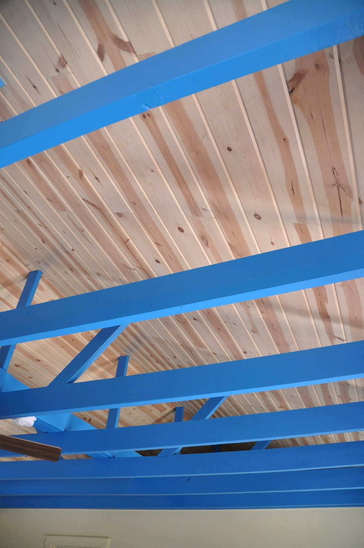 Blue rafters give the room an airy feeling.