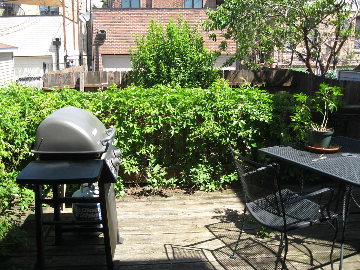 The deck includes a gas grill that guests may use