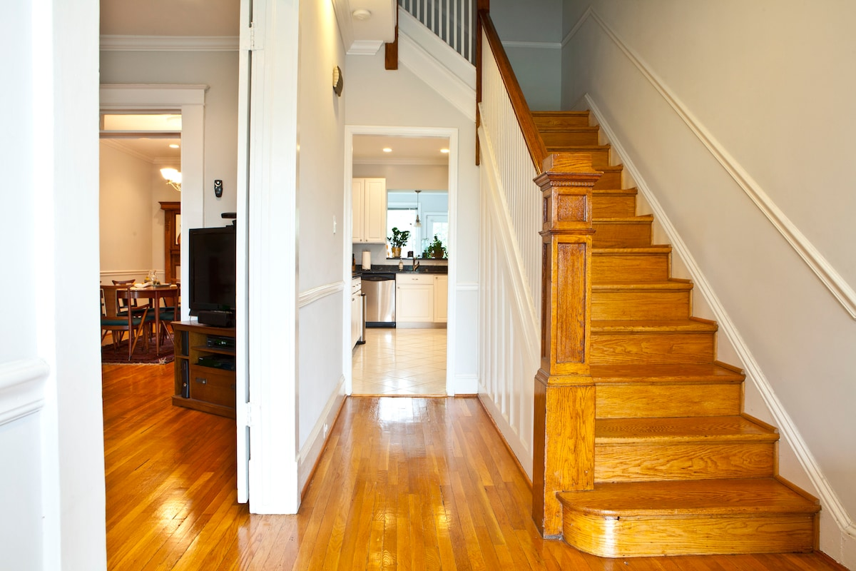 Stairs leading up to your bedroom. Kitchen (for common use) is seen in the background.