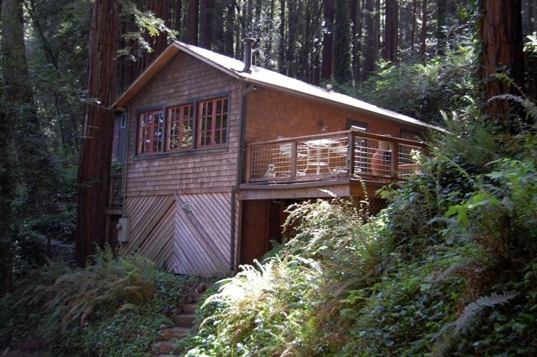 Large deck, river view and redwood setting