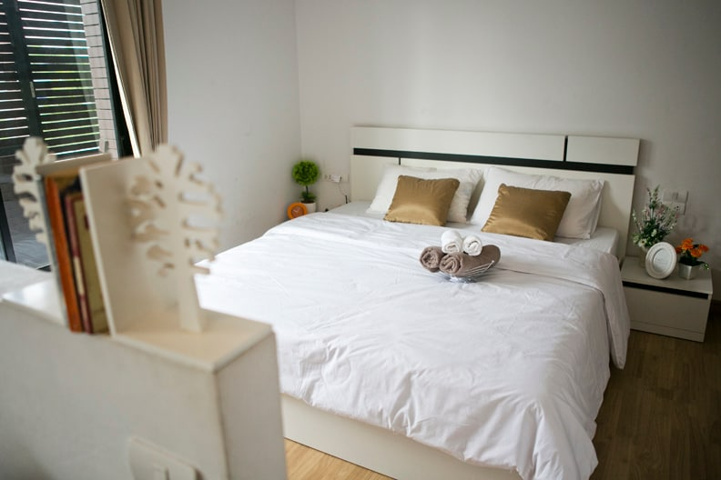Our bed is a spacious and comfortable king size bed.