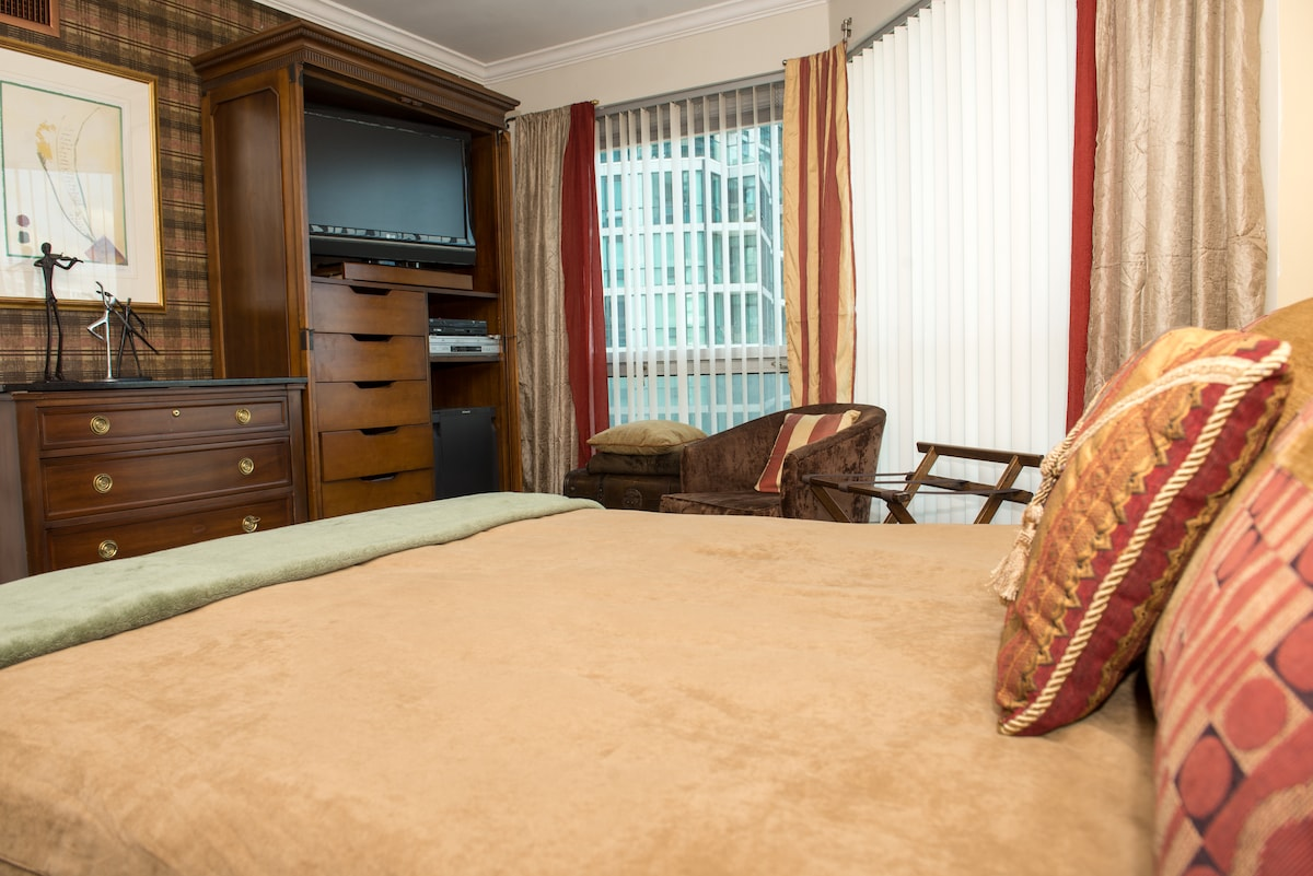 All the comforts of a true luxury Suite, relax in your bedroom in a cosy chair with a book....
