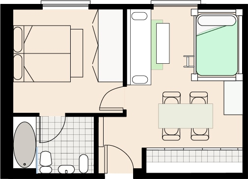 Santa Ana Trendy, 5 pax, 1 room