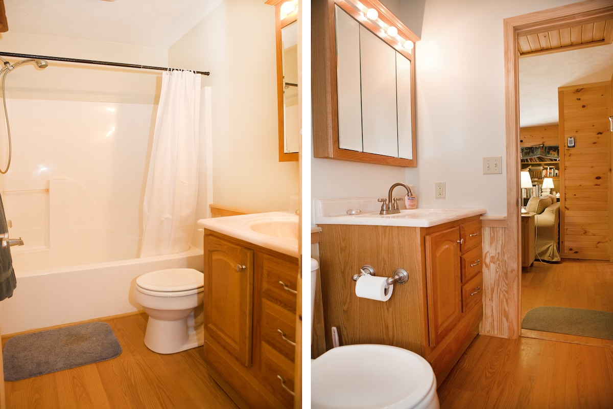 Unit A:  Two views of the bathroom.