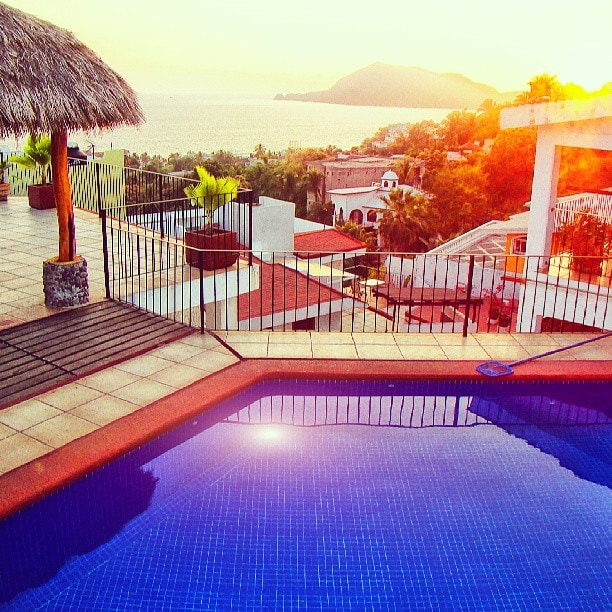 Pool and Palapa View of Bay