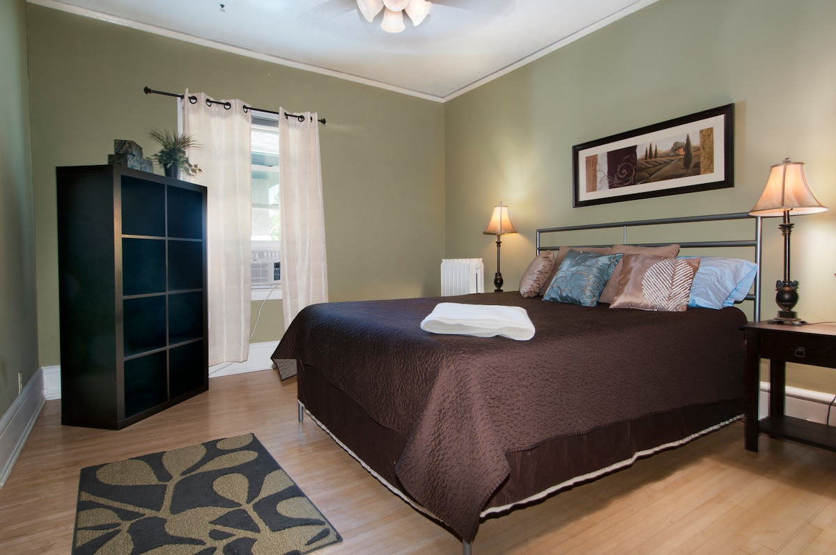Queen sized bed with closet