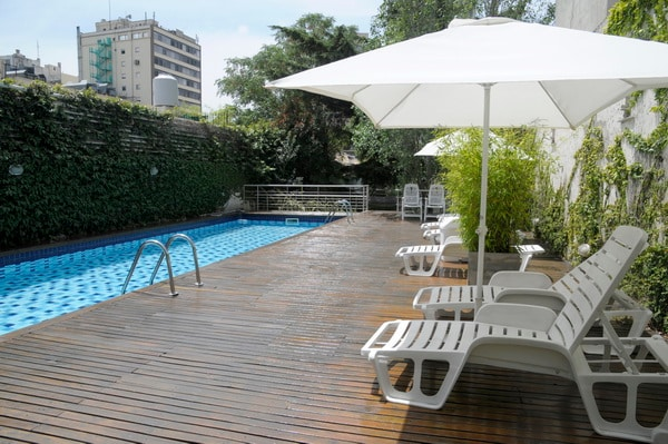 Great pool and deck at the building gardens.